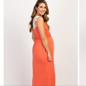 Pinkblush Dresses - Pinkblush Coral Crochet Maternity/Nursing Maxi
